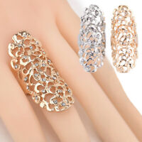 Fashion Women's Statement Hollow Out Crystal Finger Ring Wedding Rings Band
