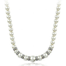 STUNNING 18K WHITE GOLD PLATED & GENUINE AUSTRIAN CRYSTAL & PEARL NECKLACE
