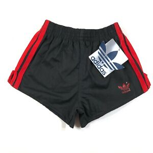 Adidas Trefoil Youth Boys S (20-22) Black Running Shorts Thick Red Stripes