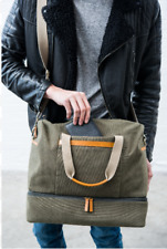 Mens Canvas with Leather Accents Duffel Bag Weekender Style with Shoulder Strap