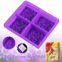 4 Bars Realistic Carving Soap solid Silicone Mold Mould Wave Cloud Shaped