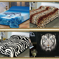 Warm Soft Reversible Throw Mink Blanket Animal Print Double King Bed Size 2 Ply