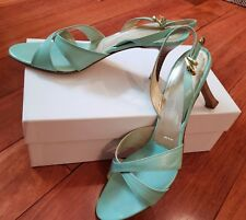 "ST. JOHN Light Mint Green Leather 3"" Heels Strappy Slingback Sandals ITALY - 37"