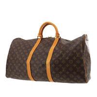 LOUIS VUITTON Keepall 55 Boston Hand Bag Brown Monogram M41424 Auth #AC126 O