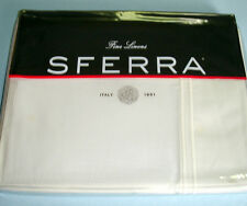 Sferra GRANDE HOTEL Twin Flat Sheet Ivory/Ivory Double Stitch Cotton Percale New