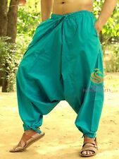 Men Cotton Turquoise Harem Yoga Pants Women Harem Trouser Hippie Genie Pants SC