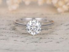 GIA CERTIFIED 1.11CT NATURAL ROUND CUT DIAMOND SOLITAIRE RING 14K WHITE GOLD