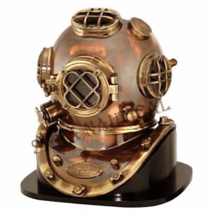 Deep Sea Helmet US Navy Mark V Diving Diver Helmet With Wooden Base Helmet