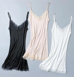 Women's 50% Silk Knitted Lace Full Slip Sleepwear Chemise Adjustable Strap SG328