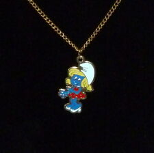 """1980s The Smurfs SMURFETTE Enameled Pendant on 18"""" Chain by Peyo New Old Stock"""