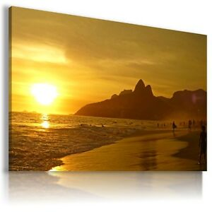 BRAZIL RIO DE JANEIRO SUNSET View Canvas Wall Art Picture  L292 MATAGA