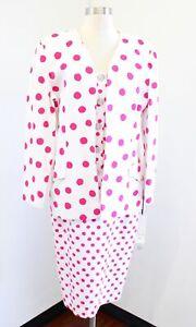 Vtg Hanae Mori Boutique Pink White Polka Dot Skirt & Jacket Suit Set Size 12
