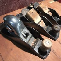 Lot of 3 Vintage Hand Plane Tools  Made in USA Wood Working Shop Pieces Parts