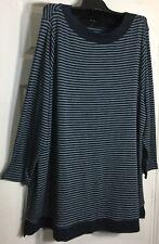 Brand New J Jill women Plus size 3x Navy blue/ White Pima cotton Knit top Tunic
