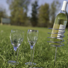Sunnydaze Wine Bottle and Stemware Holder Set Stainless Steel Picnic Height