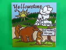 """Ceramic Art Tile 6""""x6"""" Old faithful Geyser Yellowstone Bear National Park New H7"""