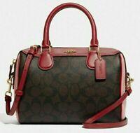 New Coach 68100 mini Bennett Satchel Colorblock handbag Brown Red / Pink multi