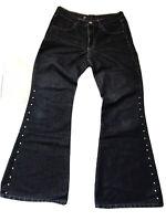 Gang Damen Schlag Jeans Hose Nieten W31 L32 Dunkelblau
