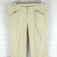 Eddie Bauer womens size 6 stretch solid beige nylon straight roll-up hiking pant