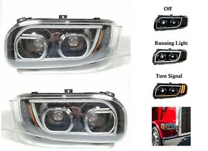 Pair All LED Headlights w/ Dual Function LED Halo DLR for Peterbilt 388/389/567