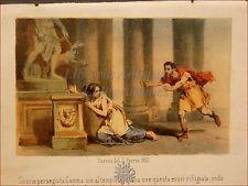 EROTICA - Tavola Acquerellata d'epoca '800 SINORIX e CAMMA Tempio Diana PERRIN