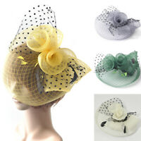 Lady Women Fascinator Hair Clips Accessory Lace Mesh Wedding Party Church Hats