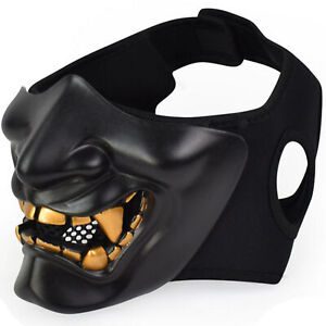 Half Face Mask Cosplay Samurai Devil Tactical Halloween Party Festival