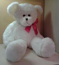 """White Teddy Bear Jumbo  33"""" Plush Holiday Old Style Face stuffed animal NWOT"""