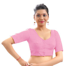 Pink Cotton Casual Blouse Top Choli Indian Bollywood Wedding Traditional Saree