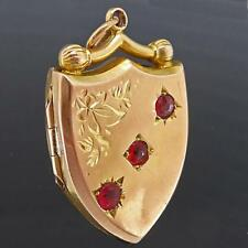 Original Antique c1880 GTD GARNET 9k Solid ROSE GOLD LOCKET / SHIELD FOB PENDANT