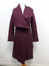 Asos Waterfall Trapeze Coat in Wool Blend Plum Size UK 10 RRP £90 Box4747 C