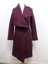 Asos CASCATA TRAPEZIO Cappotto in misto lana Prugna Taglia UK 10 RRP £ 90 Box4747 C