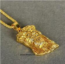 18k Gold Plated Gunmetal MICRO JESUS HEAD PIECE Pendant Chain Hip Hop Necklace