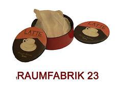 6tlg Set Antik Loft Design Untersetzer Latte Impressionen Rund Glas Kaffee Tee