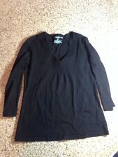 EDDIE BAUER BLACK COTTON KNIT V NEC BLOUSE  SHIRT WOMENS SIZE SMALL S Ked
