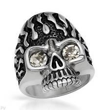 Skull Gentlemens Ring With Genuine Crystal in Black Enamel and Stainless steel