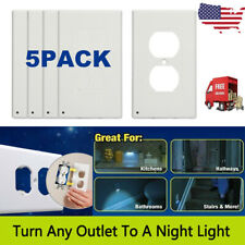 5 PACK Outlet Wall Plate Led Night Angle Light Guidelight Cover Built in Sensor