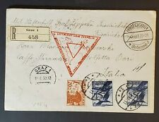 1933 Graz Austria to Italy Lz 127 Graf Zeppelin Chicago Flight Registered Cover