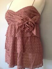 **44/8** MISSONI Rose Draped Lace V-neck Top Dress Tee Shirt Tunic Blouse ITALY