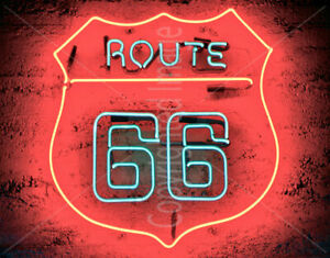 HISTORIC ROUTE 66 VINTAGE GARAGE LARGE METAL TIN SIGN POSTER RETRO STYLE `