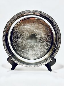 Stunning Vintage 12.5 Inches Round Oneida Silver Plated Serving Tray