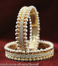MB-18 Ethnic Bollywood Rose Gold Metal Pearl Bangle Bracelet Indian Jewellery