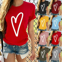 Women's Short Sleeve T-Shirt Heart Print Fashion Casual O-Neck Tops Blouse h8