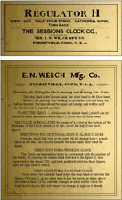 ANTIQUE CLOCK SESSION /   E N  WELCH LABEL and Instruction