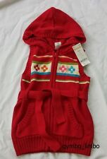 Gymboree Outlet NWT Winter Cheer Girls 3 4 Red Hooded Sweater CARDIGAN VEST