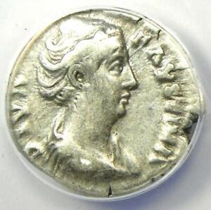 Diva Faustina AR Denarius Silver Roman Coin 147 AD - Certified ANACS VF20