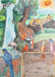 Vintage Impressionist pastel drawing jungle animals