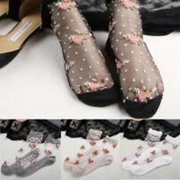Women Lady Transparent Thin Floral Flower Lace Crystal Glass Silk Short Socks