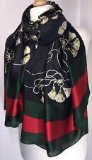 Designer Inspired Scarf Pashmina Black Silky Tassel Print Oversized Long NEW