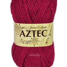 James C Brett Aztec Aran With Alpaca Knitting Wool 100g Ball - Complete Range Al15 Cerise